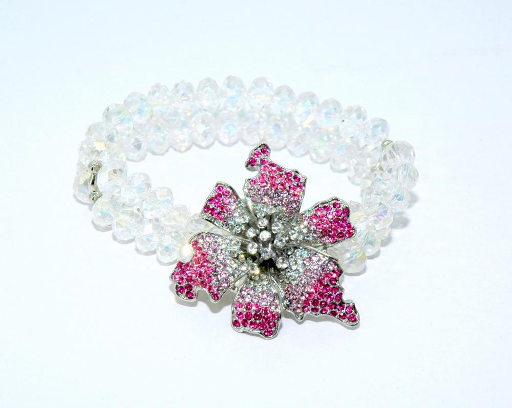 Pink Flower Stretch Beaded Bracelet - Flower Bracelet - Crystal Bracelet - Gift - Diamante Crystal Bracelet