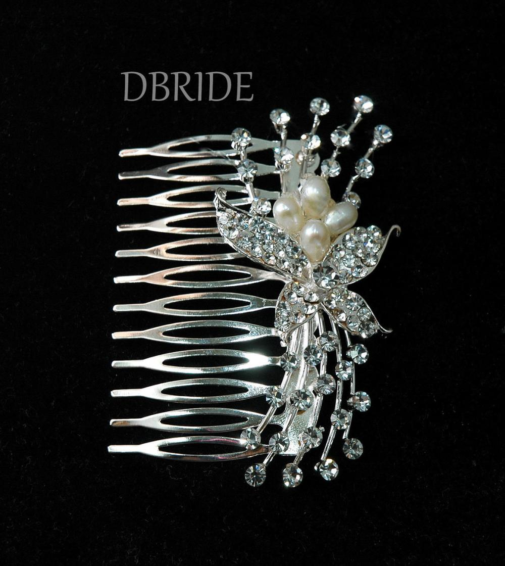 Rhinestone Flower Hair Comb - Bridal Comb - Rhinestone Hair Comb - Diamante Hair Jewellery - Head Piece