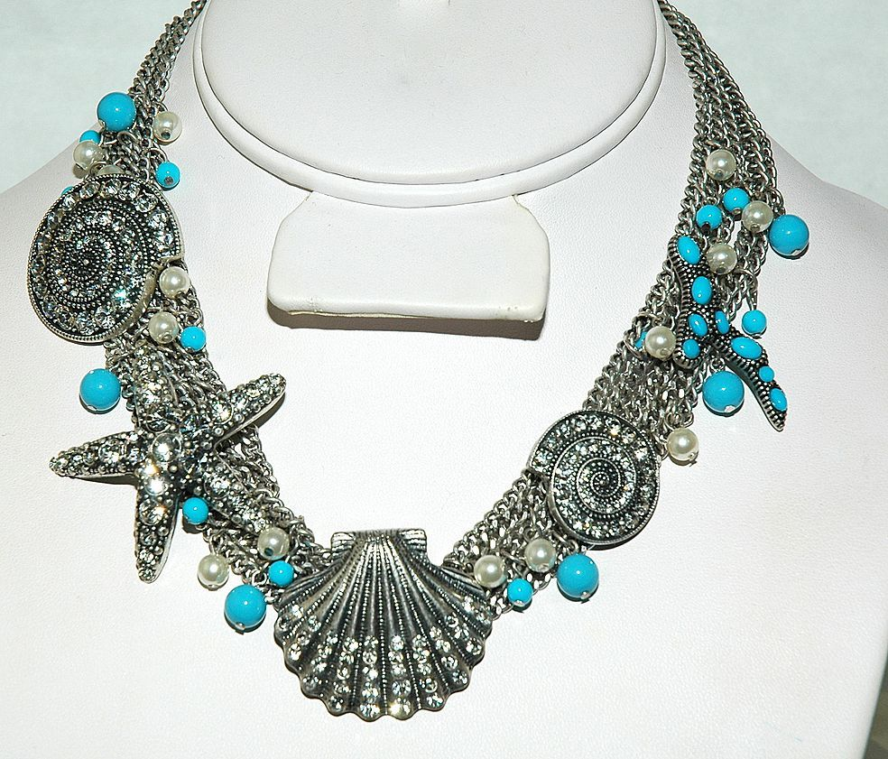 SALE Ocean Inspired Necklace - Silver Plated Necklace