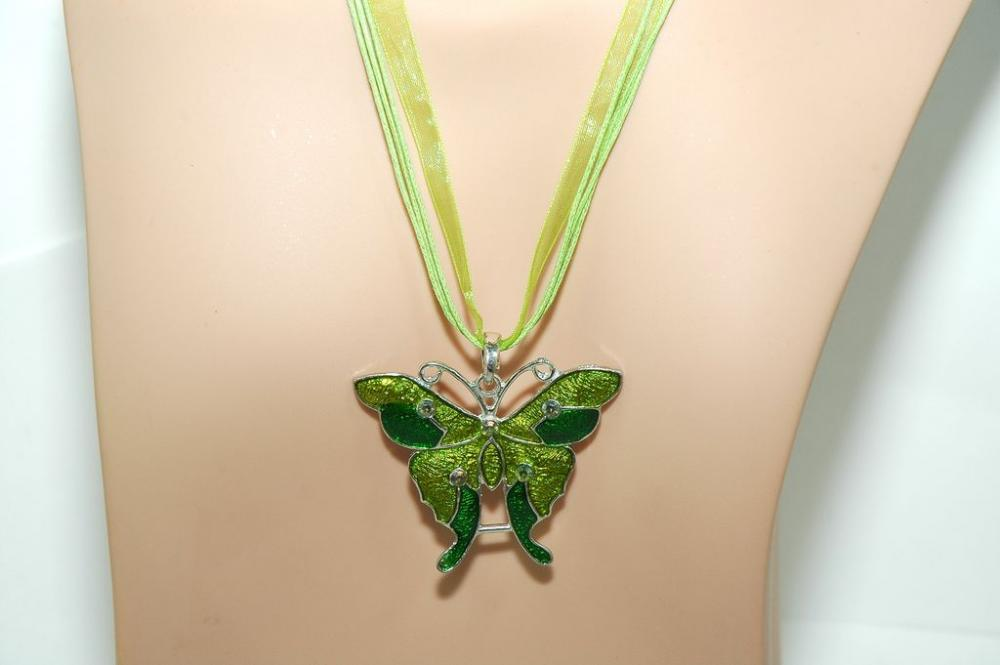 Butterfly Necklace Set - Green Butterfly Necklace - Gift - Butterfly Earrings
