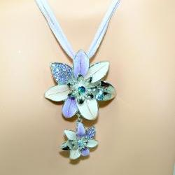 Flower Necklace - Purple Flower Necklace Set - Enamel Flower Necklace Set - Gifts Under 20.00