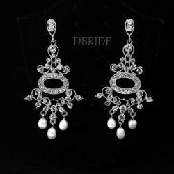 SALE Rosie Chandelier - Bridal Earrings - Silver Plated Earrings - Wedding Jewellery - Pearl Earrings