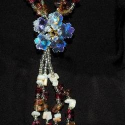 Mix Gems Long Necklace - Flower Necklace - Gift