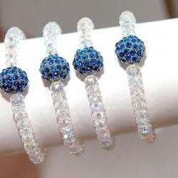SALE Set of Four Bridesmaids Bracelets- Something Blue Bracelets - Wedding Jewellery