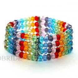 15% OFF Rainbow Beaded Bracelet - Multi strand bracelet - Colorful Bracelet